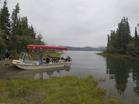 the motorboat at Lake LeBarge