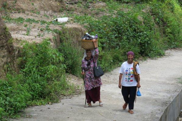 women returning from the market