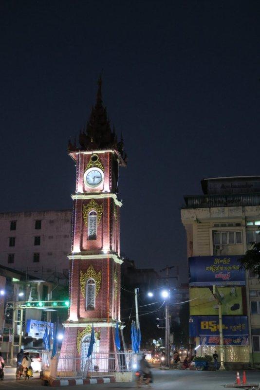 the clock tower at night