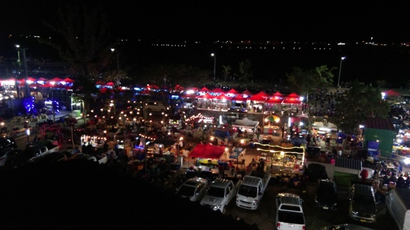 view on the night market from the balcony of Ali
