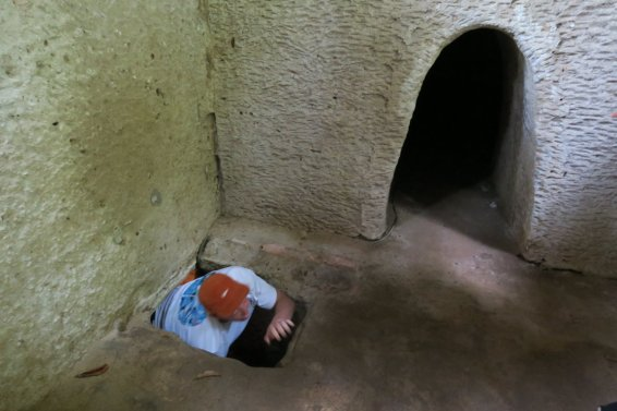 getting out of the tunnel into an underground meeting room